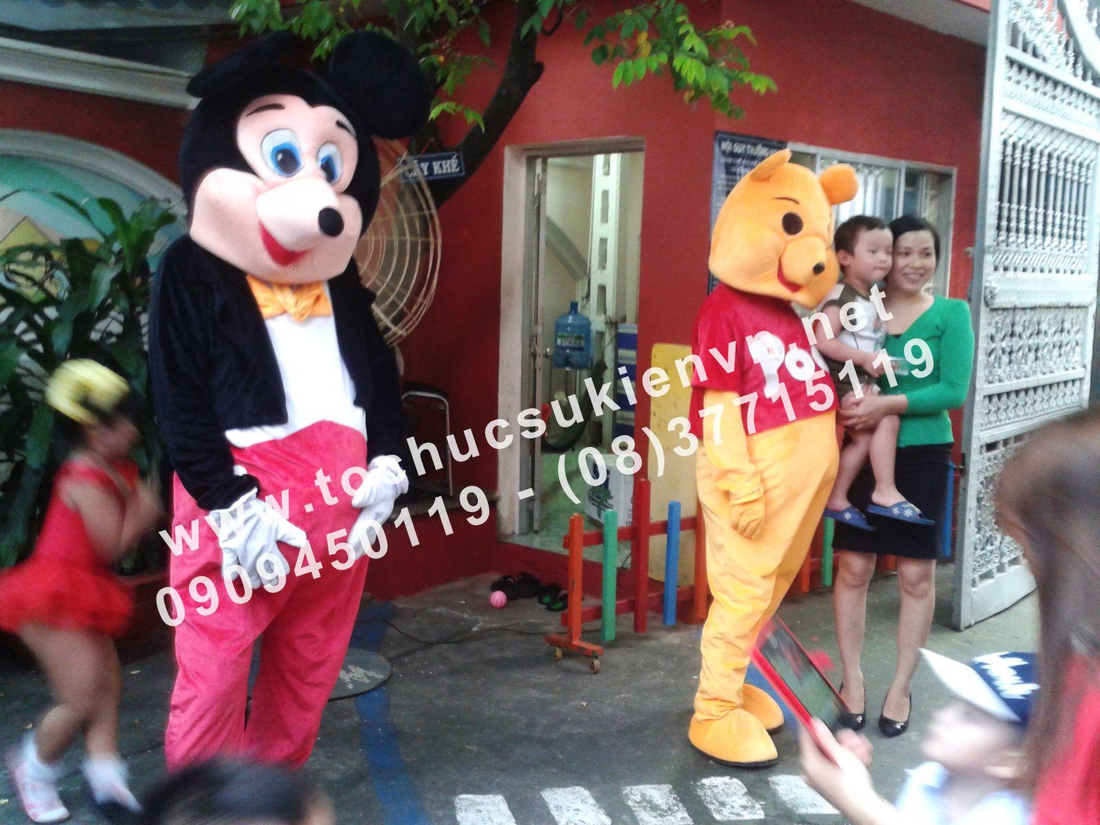Cho thuê mascot gấu pooh, chuột micky Ngàn Thông